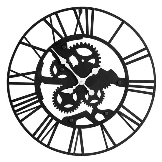 Givoa Metal Industrial Style Wall Clock In Black