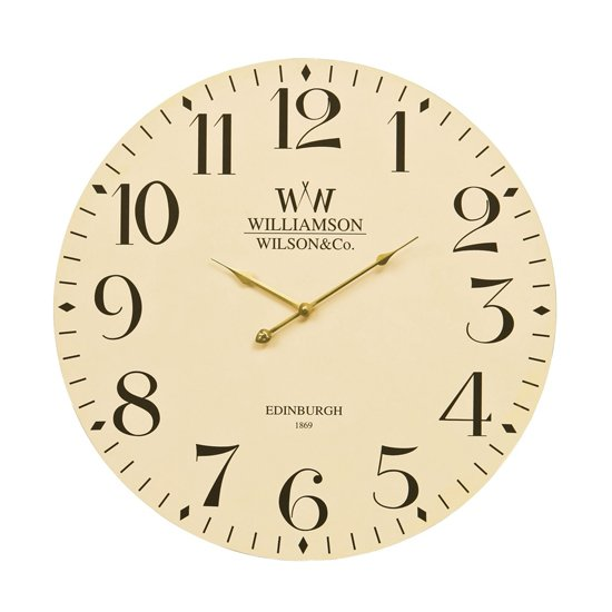 Hista Classical Wooden Wall Clock In Natural Cream