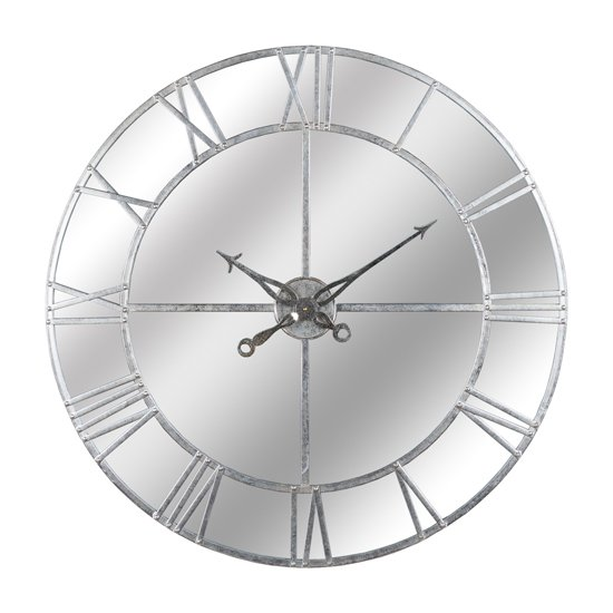 Neoga Large Foil Mirrored Wall Clock In Silver
