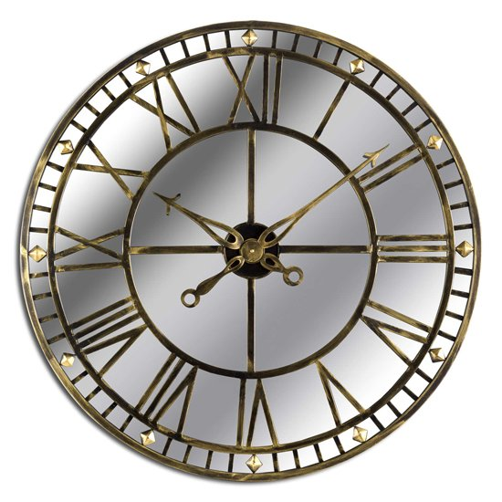 Zulia Large Skeleton Mirrored Wall Clock In Antique Brass
